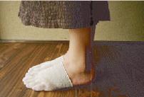 純国産絹五本指靴下(足先)使用例