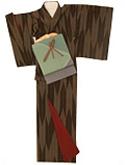 00015 六釜の矢絣ボカシに染めローケツ風の帯
